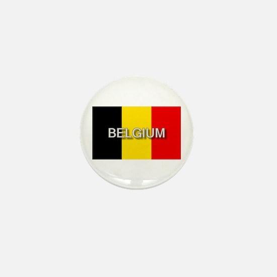 Belgium Flag with Label Mini Button