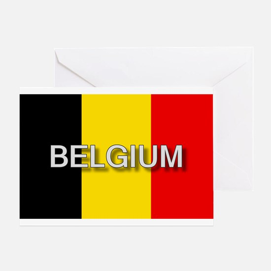 Belgium Flag with Label Greeting Card