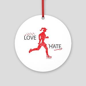 Women's Love Hate Running Ornament (Round)