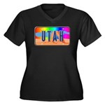 Utah Rainbow Women's Plus Size V-Neck Dark T-Shirt
