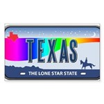 Texas Rainbow State Plate Rectangle Sticker 50 pk