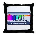 Texas Rainbow State Plate Throw Pillow