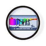 Texas Rainbow State Plate Wall Clock