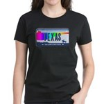Texas Rainbow State Plate Women's Dark T-Shirt