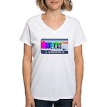 Texas Rainbow State Plate Women's V-Neck T-Shirt