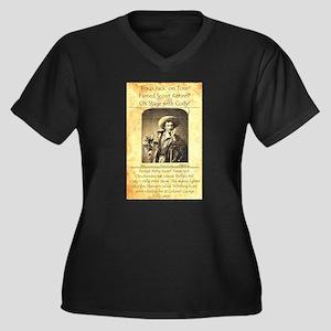 Texas Jack Women's Plus Size V-Neck Dark T-Shirt