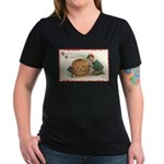 Pumpkin Boy Women's V-Neck Dark T-Shirt