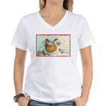 Flying Pumpkin Women's V-Neck T-Shirt