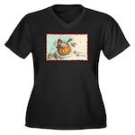 Flying Pumpkin Women's Plus Size V-Neck Dark T-Shi