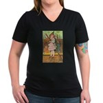Witch Girl Women's V-Neck Dark T-Shirt