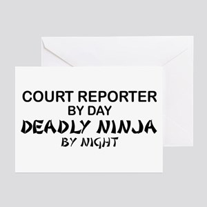 Court Reporter Deadly Ninja by Night Greeting Card