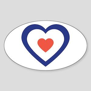 Mod Target Heart Oval Sticker