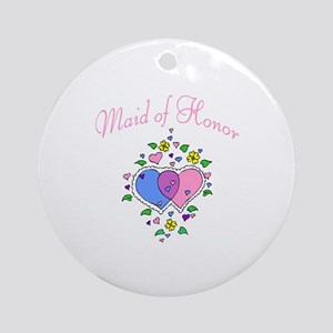 Maid Of Honor (Hearts) Ornament (Round)