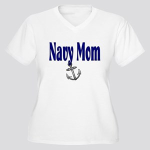 Navy Mom with anchor Women's Plus Size V-Neck T-Sh