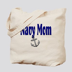 Navy Mom with anchor Tote Bag