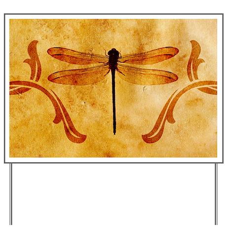 Artistic Vintage Dragonfly Yard Sign