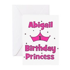 1st Birthday Princess Abigail Greeting Cards (Pk o