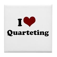 i heart quarteting Tile Coaster