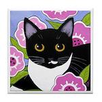 SASSY Black & White Tuxedo CAT Art Tile