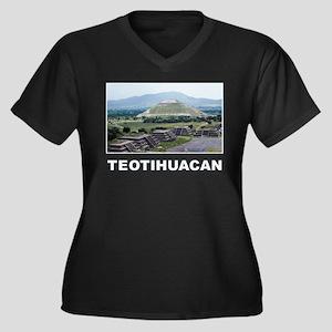 Teotihuacan Women's Plus Size V-Neck Dark T-Shirt
