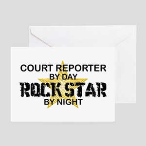 Court Reporter Rock Star by Night Greeting Cards (