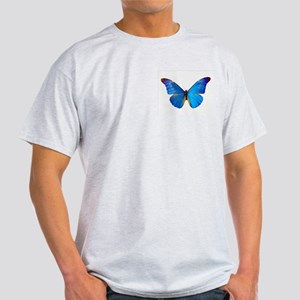 Blue Butterfly Ash Grey T-Shirt