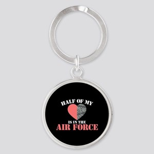 My Heart is in the Air Force Round Keychain