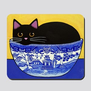 Black CAT in Blue Willow Bowl Mousepad