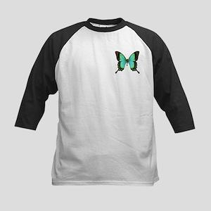 Green Butterfly Kids Baseball Jersey