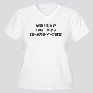 Grow up - Red-Headed Woodpeck Women's Plus Size V-