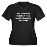 Immigration Women's Plus Size V-Neck Dark T-Shirt