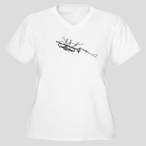 Trumpet Flying Skeletons Women's Plus Size V-Neck