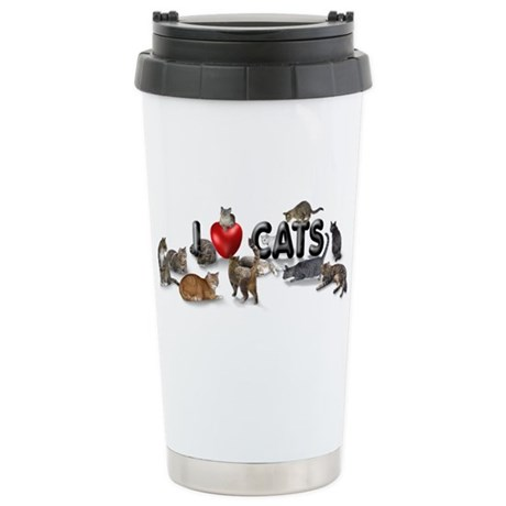 "Stainless Steel Travel Mug ""I love Cats"""