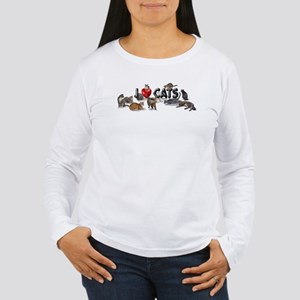 "Women's Long Sleeve T-Shirt ""I love Cats&quot"