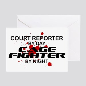 Court Reporter Cage Fighter by Night Greeting Card