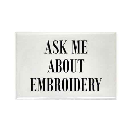 Needlework - Ask Me About Emb Rectangle Magnet (10