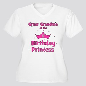 Great Grandma 1st Birthday Pr Women's Plus Size V-