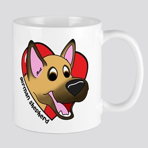 Cartoon German Shepherd Love Mug