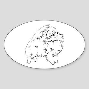 Pom Outline Black Oval Sticker