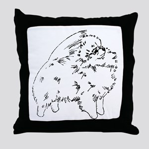 Pom Outline Black Throw Pillow