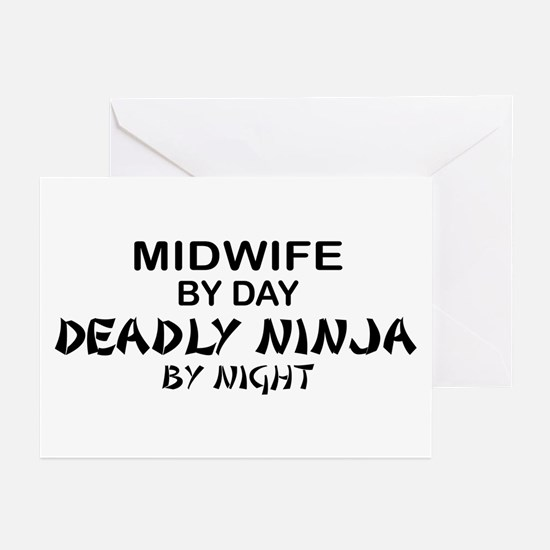 Midwife Deadly Ninja by Night Greeting Cards (Pk o