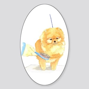 Pom Being Brushed Oval Sticker
