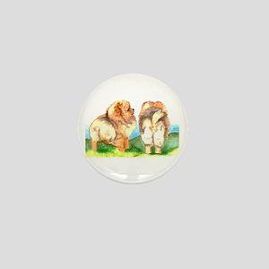 Pom Pups on Grass Mini Button