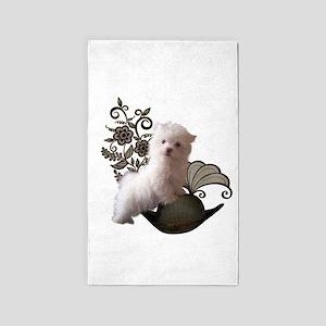 Cute little maltese puppy on the moon Area Rug