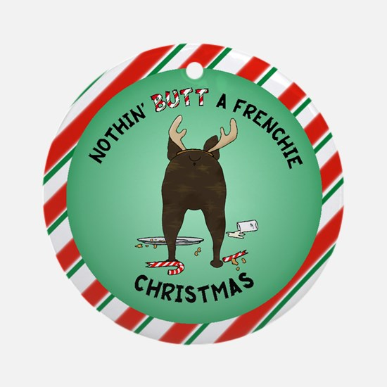 French Bulldog Christmas Ornament (Round)