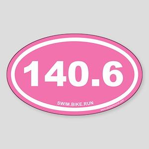 140.6 Swim Bike Run Irongirl Pink Oval Sticker