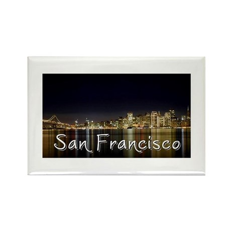 San Francisco at night Rectangle Magnet (100 pack)
