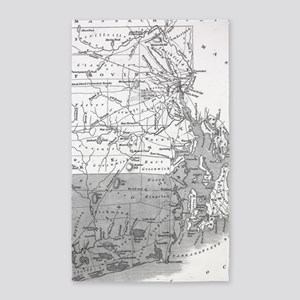 Vintage Map of Rhode Island (1827) BW Area Rug