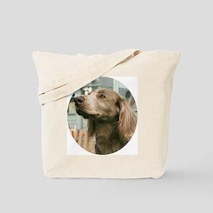Longhair Weimaraner Tote Bag - oval.