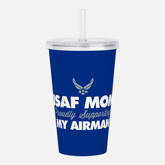 USAF Mom Supporting my Acrylic Double-wall Tumbler